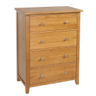 Devon Oak 4 Drawer Chest